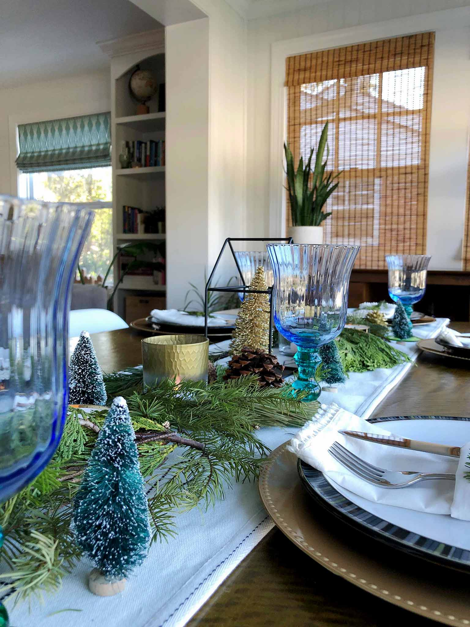 Bottle brush trees | How to Create a Beautiful Tablescape on a Budget | That Homebird Life Blog #christmasdecor #tablescape