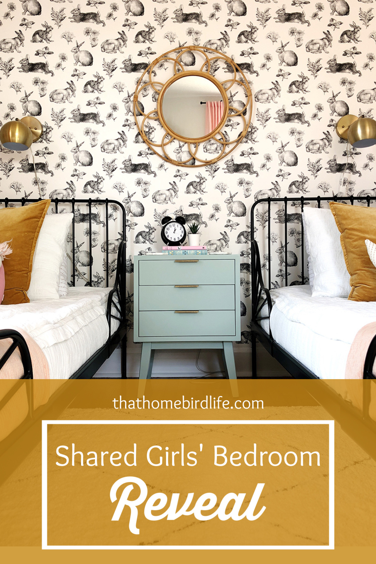Girls' Bedroom Reveal - Guest Participant of the One Room Challenge - That Homebird Life Blog #kidsroom #kidsdecor #wallpaper