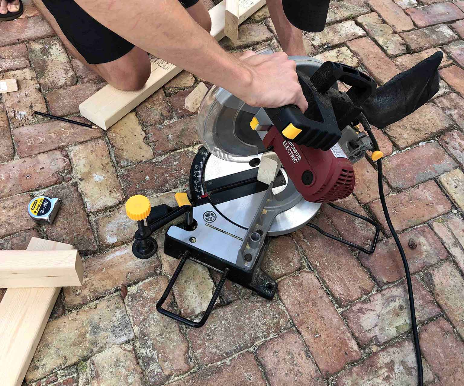 using a miter saw to build a frame
