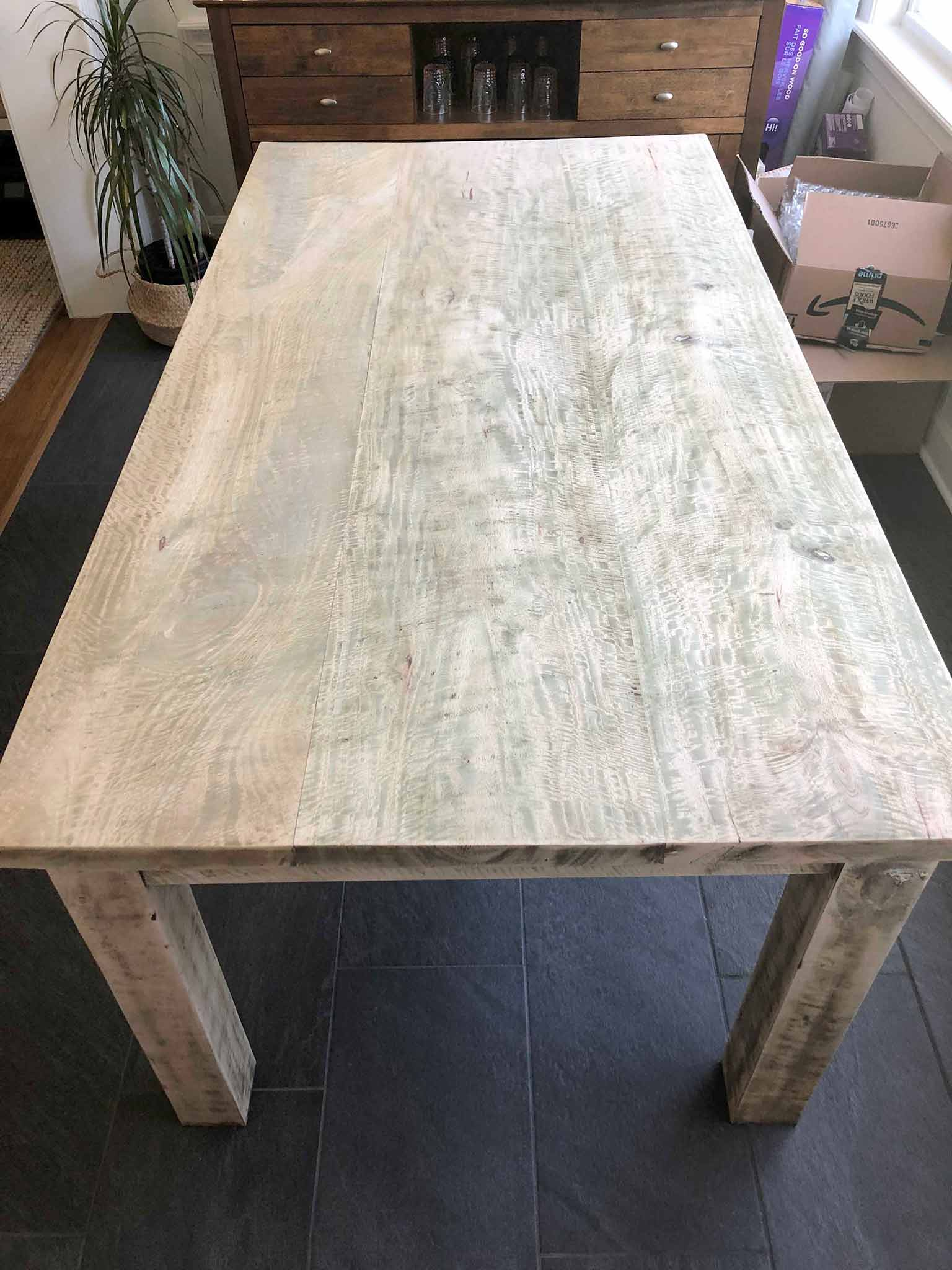 wood table after stripping