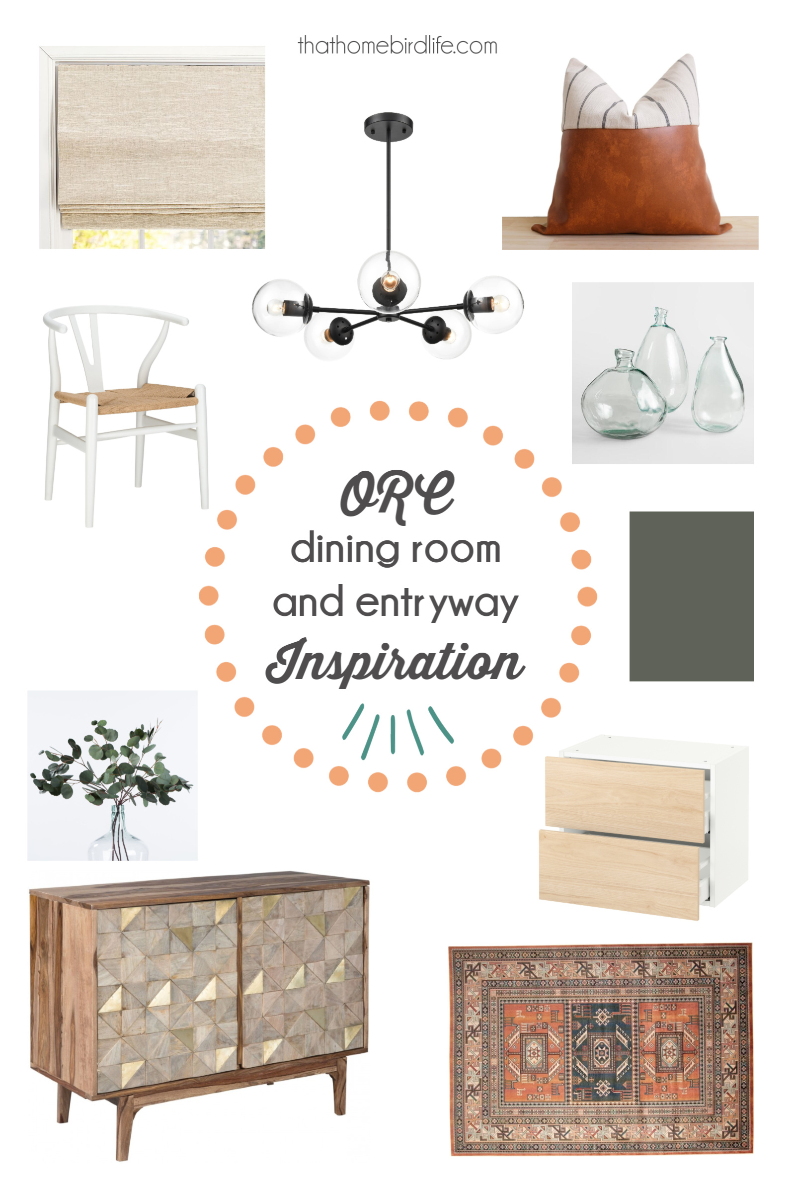 mood board for a dining room and entryway