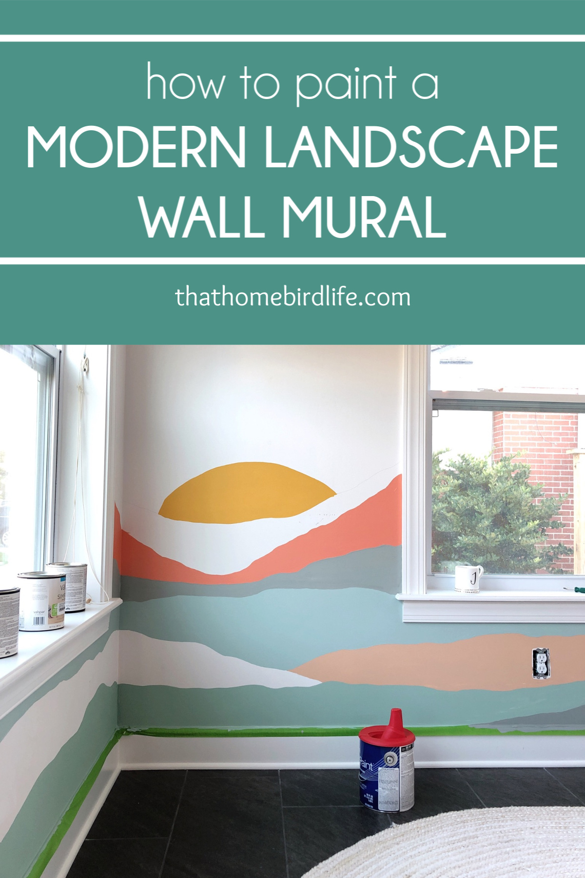 Mural with Text overlay - How To Paint a Modern Landscape Wall Mural