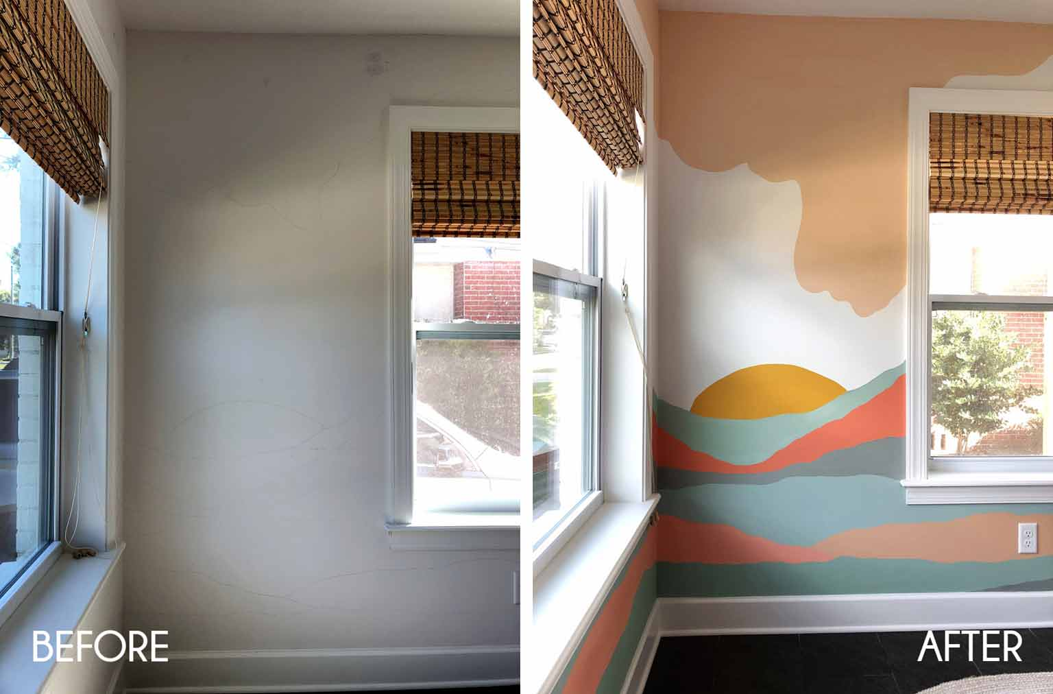 before and after wall mural