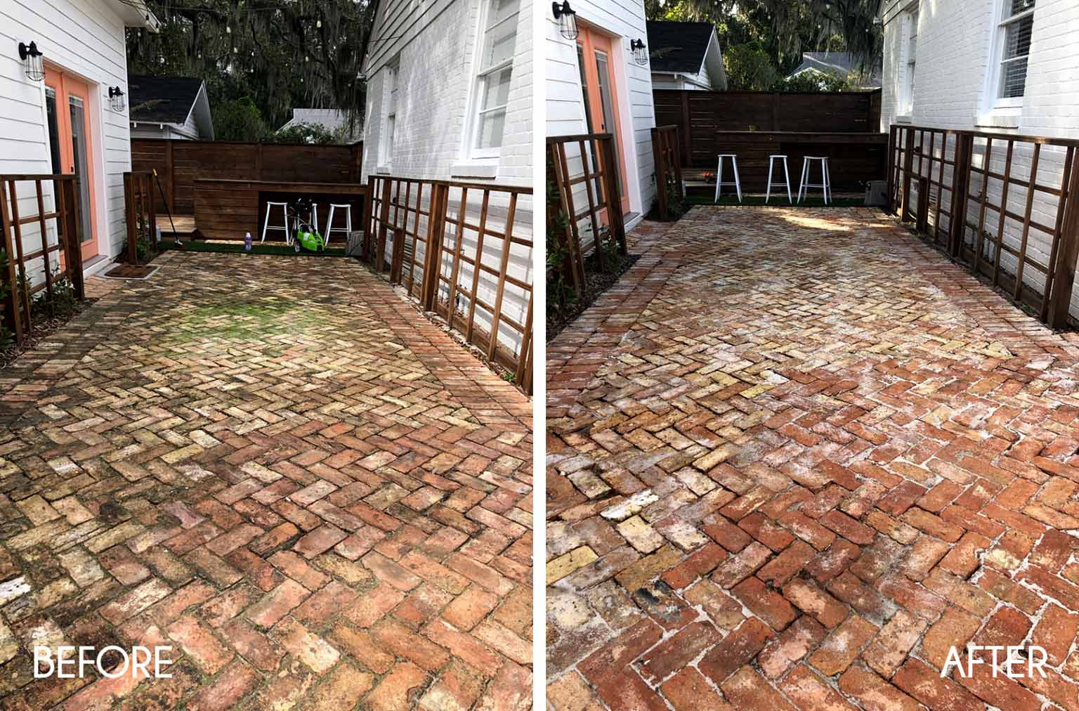 before and after pressure washing brick pavers
