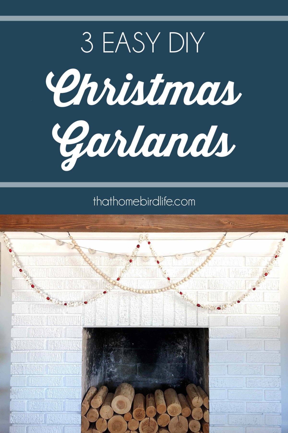 fireplace with 3 garlands