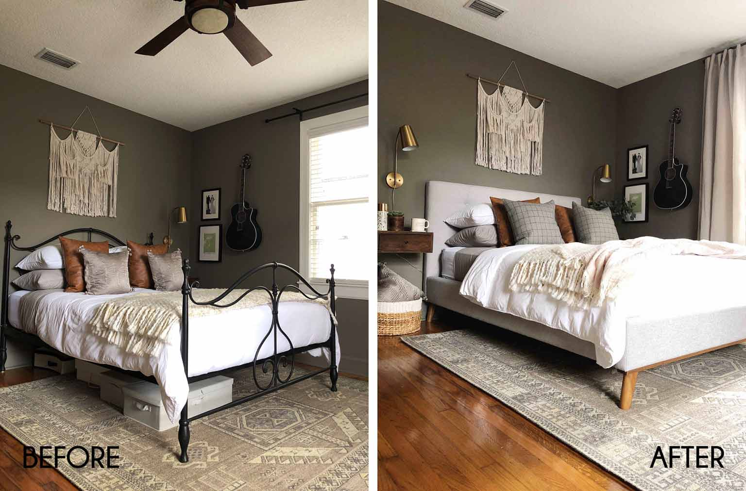 before and after neutral master bedroom