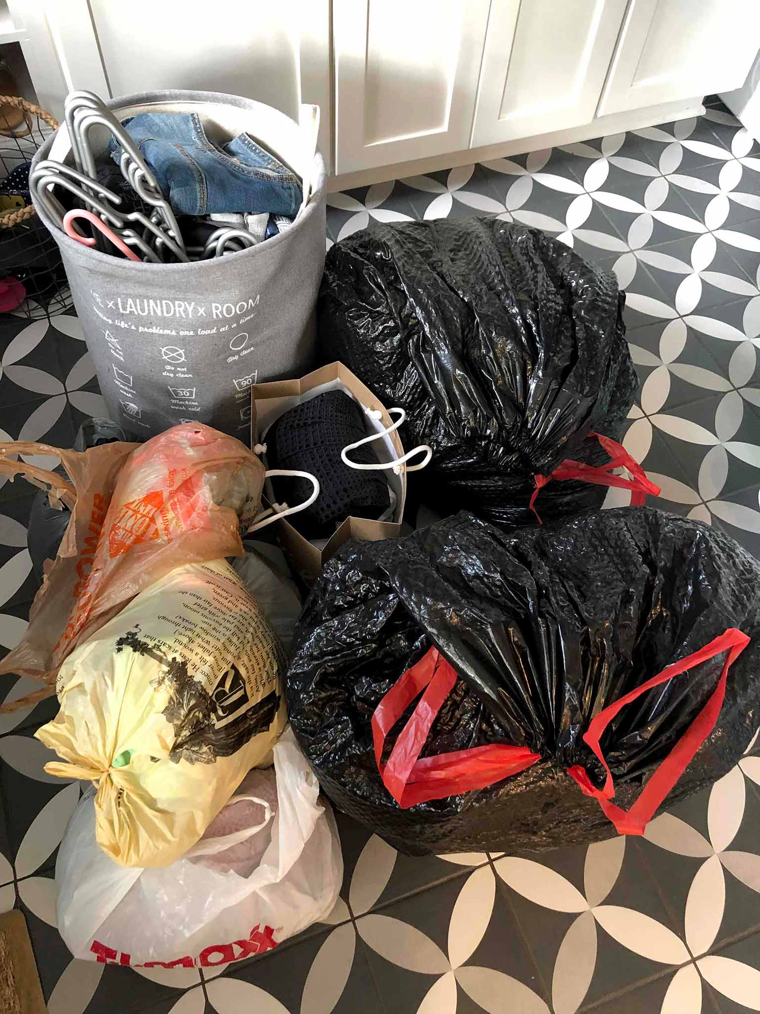 Pile of clothing donations