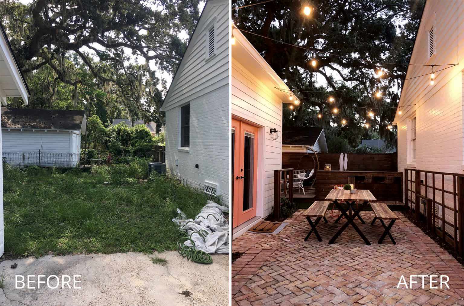 dining patio before and after refresh