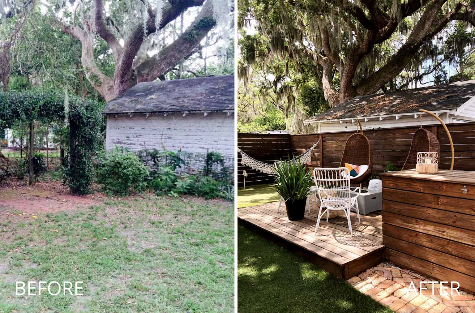 backyard deck before and after refresh