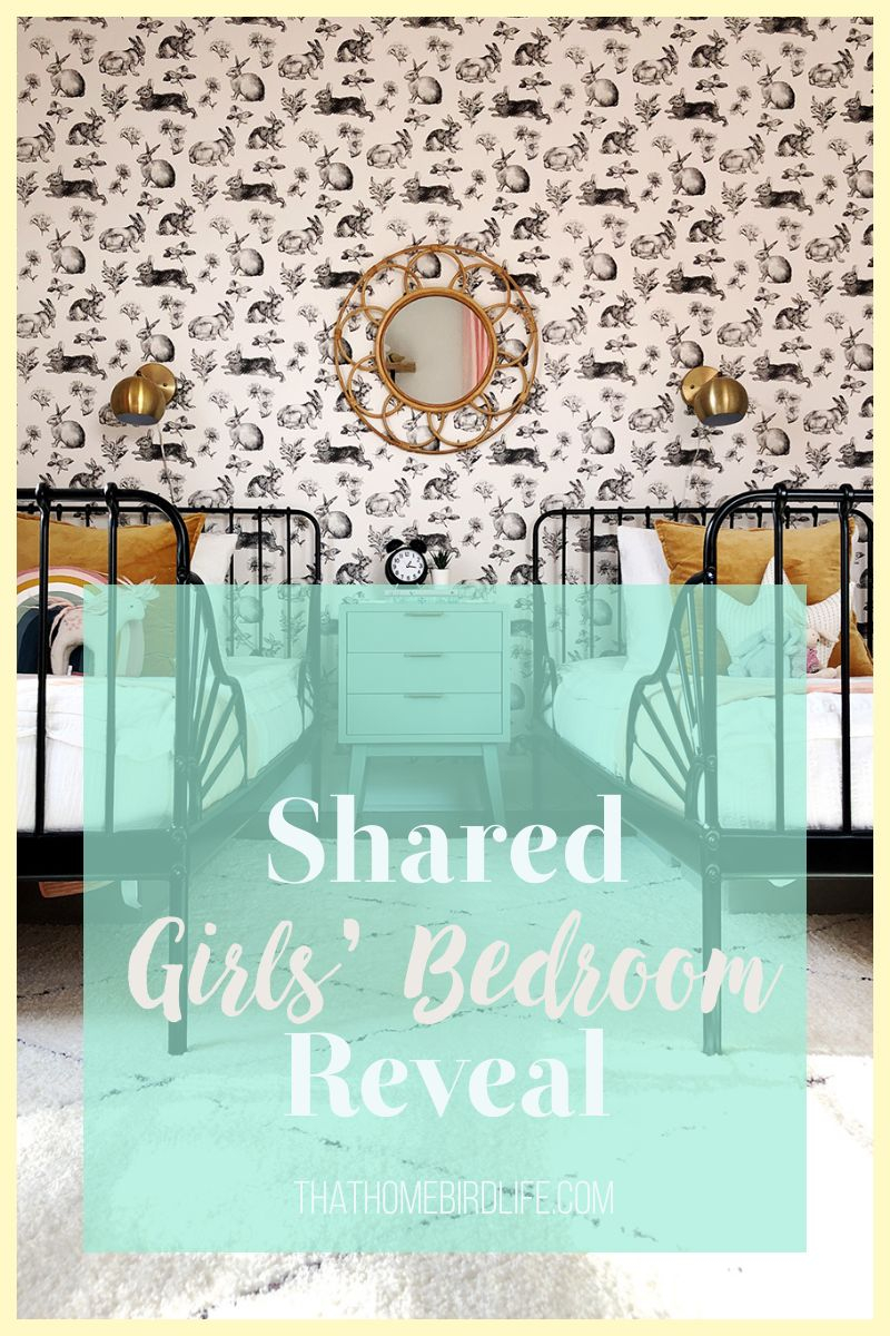 shared girls bedroom with text overlay