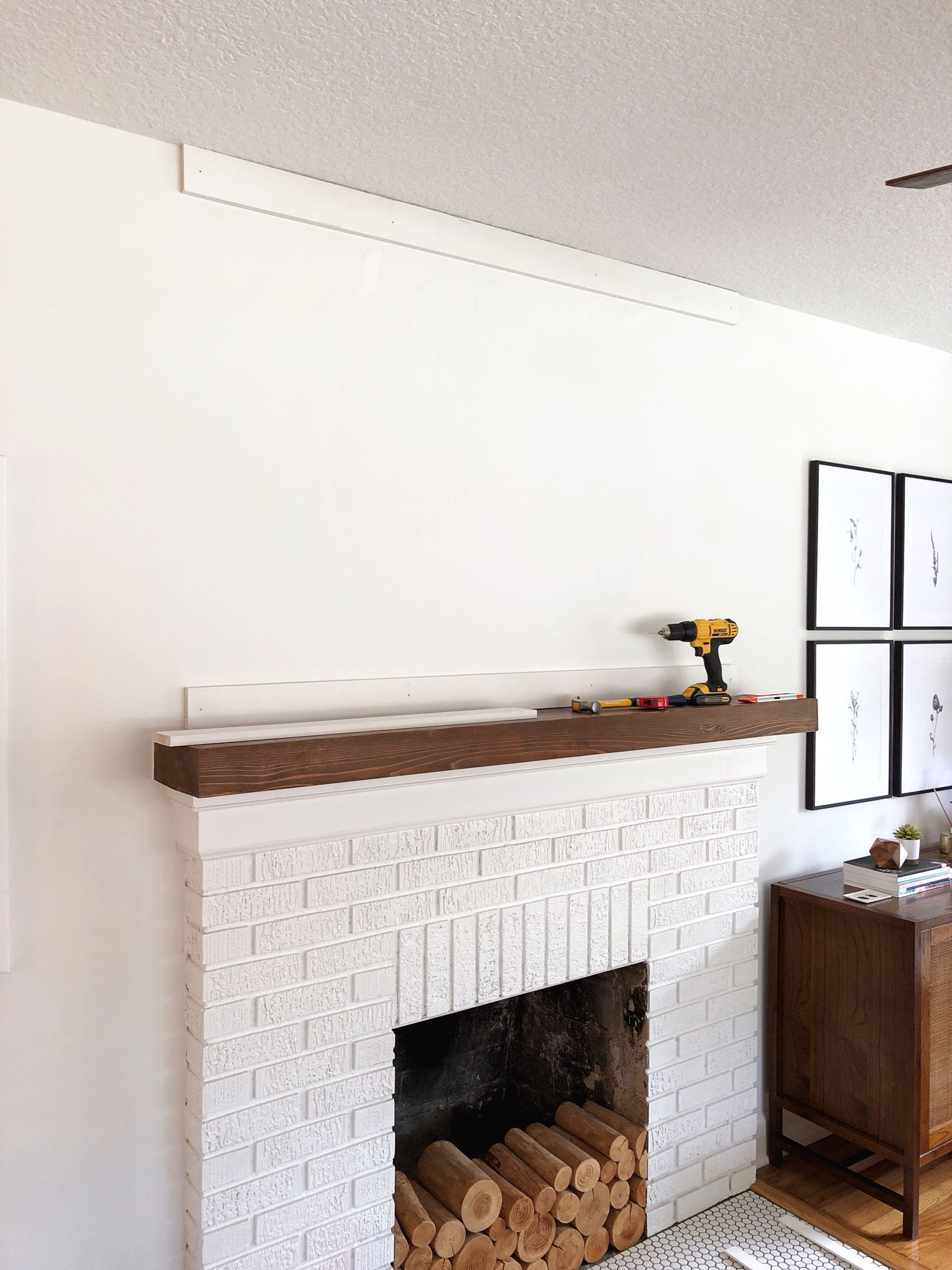 fireplace with two boards installed