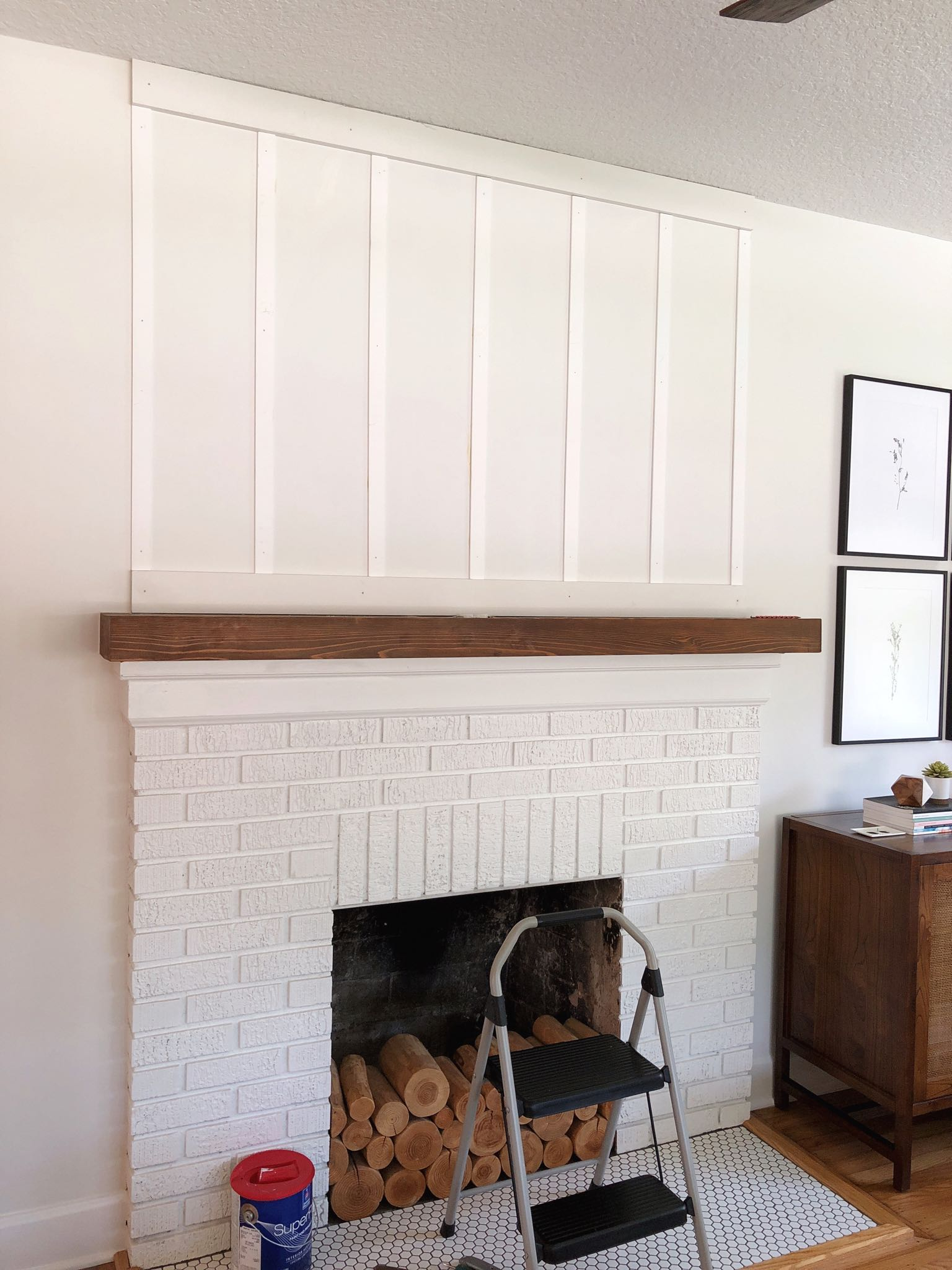 fireplace during board and batten installation