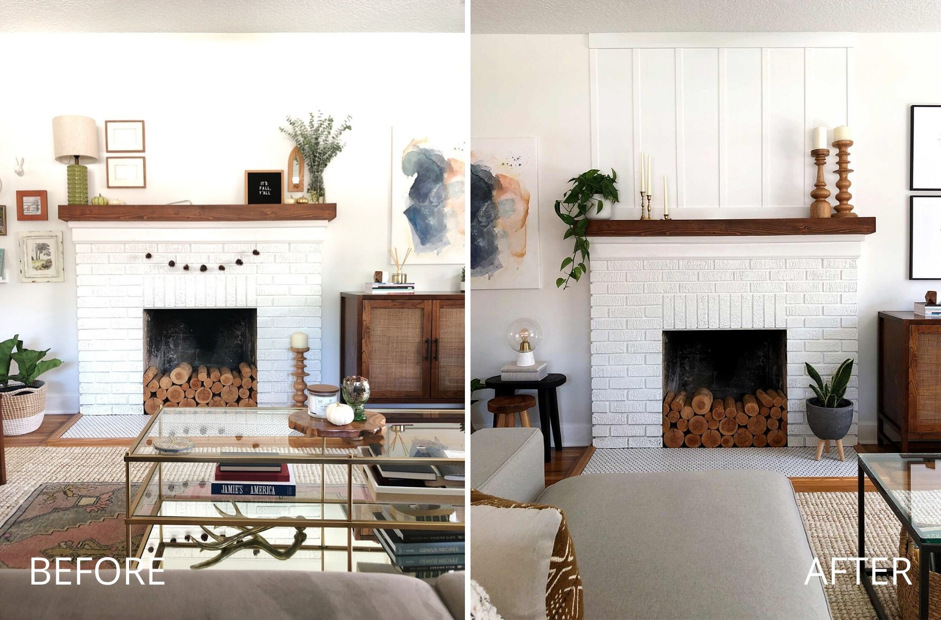 before and after board and batten fireplace